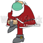 Cartoon Coronavirus Santa Wearing a Mask and Putting His Boots on © djart #1718672