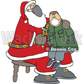 Cartoon Covid Santa Wearing a Mask and Giving a Boy a Candy Cane © djart #1718696