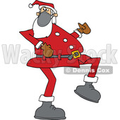 Cartoon Covid Santa Wearing a Mask and Strutting © djart #1718701