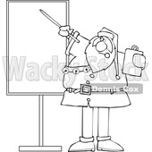 Cartoon Black and White Sauta Claus Talking and Pointing to a Board © djart #1719045