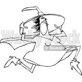 Cartoon Black and White Halloween Witch Wearing a Mask and Running © djart #1719303