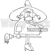 Cartoon Black and White Halloween Witch Wearing a Covid Mask © djart #1719468
