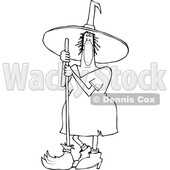 Cartoon Black and White Halloween Witch Wearing a Covid Mask and Standing with a Broom © djart #1719469