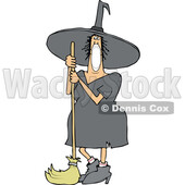 Cartoon Halloween Witch Wearing a Covid Mask and Standing with a Broom © djart #1719472