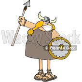 Viking Woman Armed with a Covid Mask Spear and Shield © djart #1719498