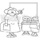Cartoon Female Elementary School Teacher and Students Wearing Masks by a Chalkboard Lineart © djart #1719884