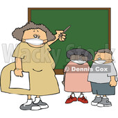 Cartoon Female Elementary School Teacher and Students Wearing Masks by a Chalkboard © djart #1719889