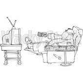 Sick Lineart Man Wearing a Mask While Watching TV at Home © djart #1719913
