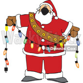 Cartoon Covid Christmas Santa Holding a Strand of Lights © djart #1721037