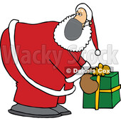 Cartoon Covid Christmas Santa Picking up a Gift © djart #1721038