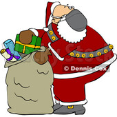 Cartoon Covid Santa Packing His Sack © djart #1722026