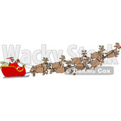 Cartoon Covid Santa Flying His Sleigh © djart #1722029