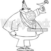 Businessman Wearing a Party Hat and Mask and Toasting © djart #1723068