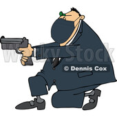 Cartoon Man Wearing a Mask Kneeling and Pointing a Gun © djart #1724467