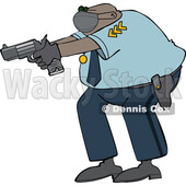 Cartoon Police Man Aiming a Gun © djart #1724655