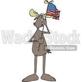 Cartoon Moose Holding an American Flag © djart #1725090