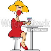 Cartoon Woman Sitting with a Cocktail and Wearing a Mask © djart #1725269