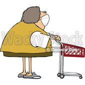 Cartoon Woman Wearing a Mask and Standing with a Shopping Cart © djart #1726967