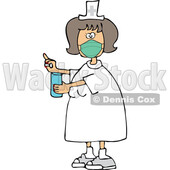 Cartoon Nurse Wearing a Mask and Holding a Pill © djart #1727745