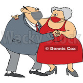 Cartoon Old Couple Wearing Masks and Dancing © djart #1727750