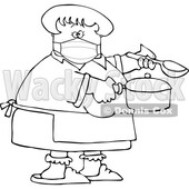 Cartoon Lady Wearing a Mask and Cooking © djart #1728617