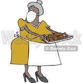 Cartoon Lady Wearing a Mask and Baking Brownies © djart #1728623