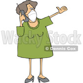 Cartoon Lady Wearing a Mask and Talking on a Cell Phone © djart #1728624