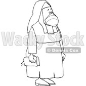 Cartoon Black and White Nun Wearing a Mask © djart #1738829