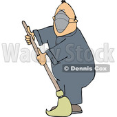 Cartoon Male Custodian Wearing a Mask and Mopping © djart #1739728