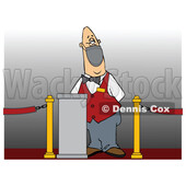 Cartoon Movie Theater Worker Wearing a Mask at the Ticket Stand © djart #1739730