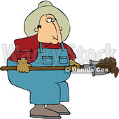 Cartoon Chubby Male Farmer Shoveling Manure © djart #1741175