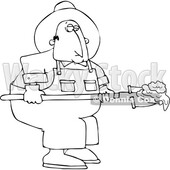 Cartoon Black and White Chubby Male Farmer Shoveling Manure © djart #1741176