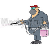 Cartoon Man Spraying Chemicals and Wearing a Mask © djart #1741202