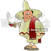 Man Smoking Out Of The Ears After Eating An Extremely Hot Red Pepper While Touring Mexico Clipart Illustration © djart #17415