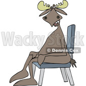 Cartoon Moose Sitting Cross Legged in a Chair © djart #1743807