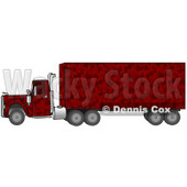 Clipart Illustration of a Red Camouflage Big Rig Truck Pulling A Matching Cargo Trailer © djart #17567
