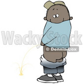 Mischievious African American Boy Baring His Rear End While Urinating In Public And Looking Back At The Viewer Clipart Illustration © djart #17643