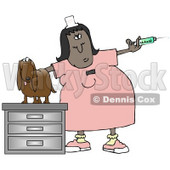 Clipart Illustration of a Nervous Wiener Dog On A Table, Looking At A Veterinary Technician Holding A Vaccine Syringe © djart #17652