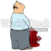 Casual Caucasian Man Urinating On A Red Fire Hydrant Clipart Illustration © djart #17739