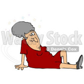 Clipart Illustration of a Gray Haired Lady In A Red Dress, Seeing Stars And Sitting On The Floor After Taking A Nasty Fall And Injuring Herself At The Office © djart #18771
