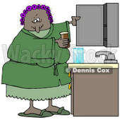 Clipart Illustration of a Black Woman With Her Hair In Purple Curlers, Wearing A Green Robe And Pjs, Putting Medicine Back In The Cabinet In Her Bathroom © djart #18852