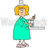 Clipart Illustration of a Female Caucasian Nurse In A Green Dress, Holding A Glass Of Water And A Pill For A Patient In A Hospital © djart #18861