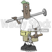 Clipart Illustration of a Black Construction Worker Man With A Giant Nail On His Shoulder, Carrying A Hammer In His Hand © djart #19704