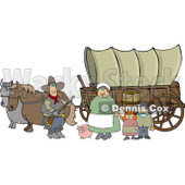 Royalty-Free (RF) Clipart Illustration of a Pioneer Family And Pig In Front Of Two Horses Pulling A Covered Wagon Along The Oregon Trai © djart #209483