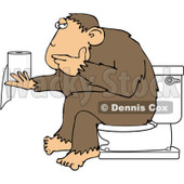 Royalty-Free (RF) Clipart Illustration of an Ape Sitting On A Toilet And Pondering Over Toilet Paper © djart #209897