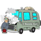 Royalty-Free (RF) Clipart Illustration of a Confused Male Mechanic Working On A Motorhome © djart #210053