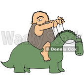 Clipart Illustration of a Happy Caveman Holding The Reins To A Green Dinosaur And Riding On His Back © djart #21556