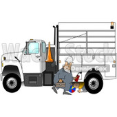Royalty-Free (RF) Clipart Illustration of a Caucasian Worker Man Walking By A Utility Truck As A Boy Plays Underneath © djart #217245