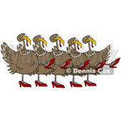 Clipart Illustration of Five Brown Turkey Birds In High Heels, Kicking Their Legs Up While Dancing In A Chorus Line © djart #26332