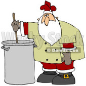Clipart Illustration of Santa Claus In A Chef's Jacket And His Christmas Uniform, Stirring A Pot Of Stew © djart #26634
